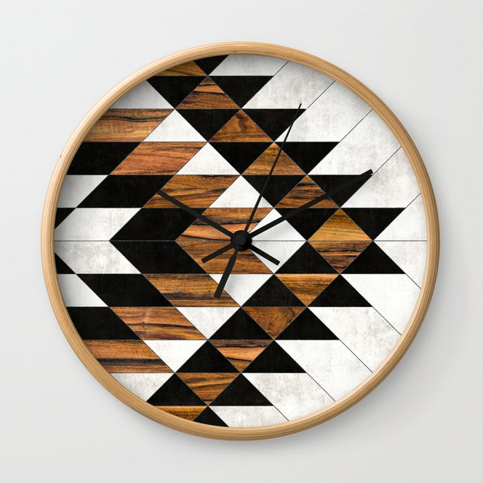 Urban Tribal Pattern No.9 - Aztec - Concrete and Wood Wall Clock