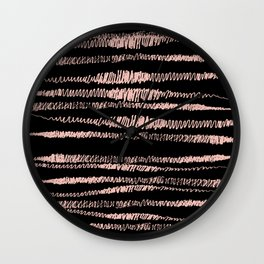 Pink and Black Hand Drawn Squiggle Horizontal Stripes, home decor, feminine Wall Clock