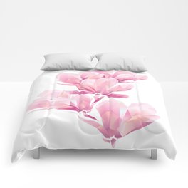 Crystal Pink orchid, polygon flowers, beautiful floral background Comforters