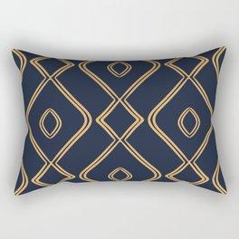 Modern Boho Ogee in Navy & Gold Rectangular Pillow