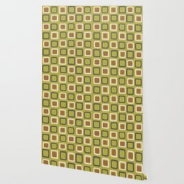 Mid Century Modern Squares Chartreuse Wallpaper