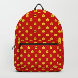 Brick People Faces in Yellow on Red Backpack