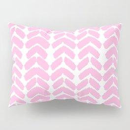 Hand-Drawn Herringbone (Pink & White Pattern) Pillow Sham