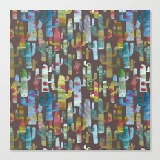 Watercolor Cacti - Browns Canvas Print