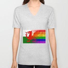 Gay Rainbow Wall Wales Flag Unisex V-Neck