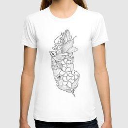 Serenity, Plumeria and a little Bird T-shirt