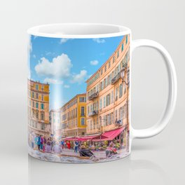 People in Nice Plaza with Fountain Coffee Mug