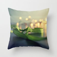 christmas ribbon bokeh Throw Pillow