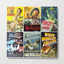 Vintage Sci-Fi Movie Poster Collage Metal Print