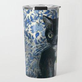 Sweet Tuxedo Cat on Blue Floral Chair Travel Mug