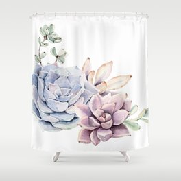 Pristine Succulents Blue and Pink Shower Curtain
