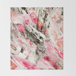 Candy Modern abstract pink salmon black grey acrylic brushstrokes painting Throw Blanket
