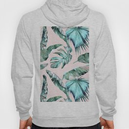 Tropical Palm Leaves Turquoise Green Coral Pink Hoody