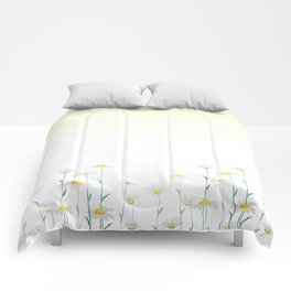 white daisy watercolor horizontal Comforters