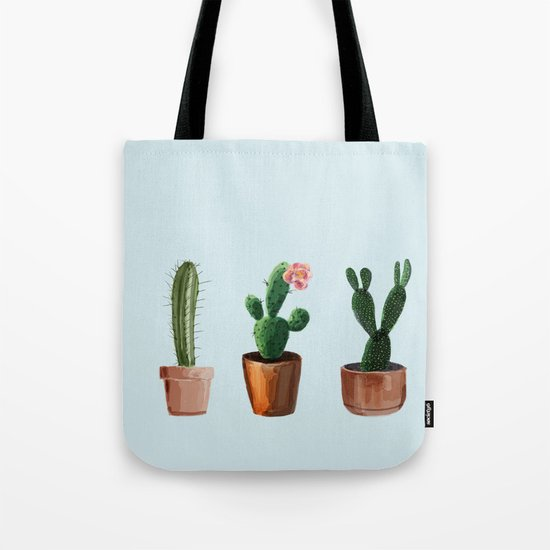 Three Cacti On Light Blue Background Tote Bag