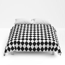 Classic Black and White Harlequin Diamond Check Comforters