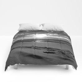 Netherlands Zeeland Ouddorp Beach Summer Late Sunset black white Comforters