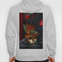 Steampunk, awesome, skull with rat and crow Hoody
