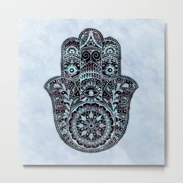 Watercolor Blue Pink Hamsa Hand Metal Print