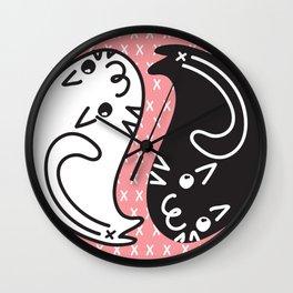 Zen Cats Peach Wall Clock