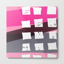 Abstract Geometrical Pink Gray Stripes White Squares Metal Print
