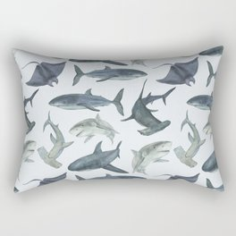 Sharks. Sea background Rectangular Pillow
