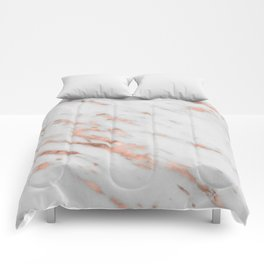 Lenola - minimalist rose gold gleam marble Comforters