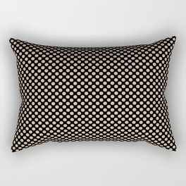 Black and Toasted Almond Polka Dots Rectangular Pillow