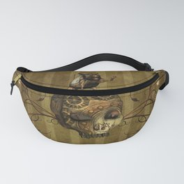 Awesome steampunk skull with steampunk rat Fanny Pack