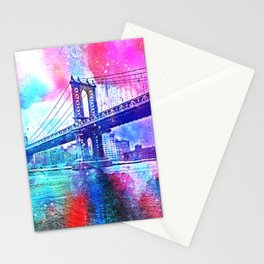 Colorful New York Pink Blue Photograph Stationery Cards