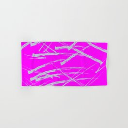 Neon Magenta background with Rough Blue Grey Paint Strokes, Teenage Girl Bedding Hand & Bath Towel