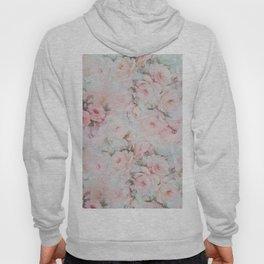 Vintage romantic blush pink teal bohemian roses floral Hoody