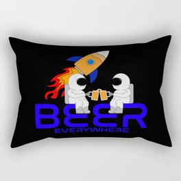 Beer Everywhere Astronaut with Beer Glas in Space Rectangular Pillow