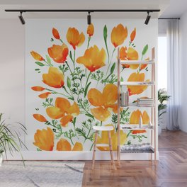 Watercolor California poppies Wall Mural