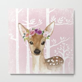 Animals in Forest - The Little Deer Metal Print
