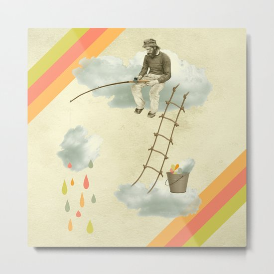 The fisherman who was cleaning the sky from the clouds Metal Print