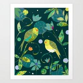 Pea Green Birds on Dark Teal Background Art Print