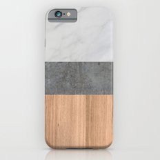 Carrara Marble, Concrete, and Teak Wood Abstract iPhone 6s Slim Case