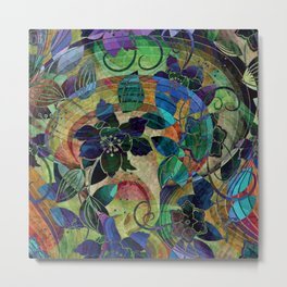 Abstract Floral Hippy Design Metal Print