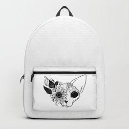 Sunflower Sphynx Skull - Hairless Cat - Creepy Kitten Backpack