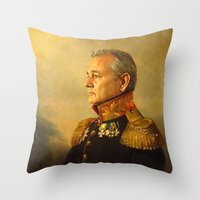 bill Throw Pillows featuring Bill Murray - replaceface by replaceface