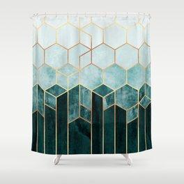 Teal Hexagons Shower Curtain