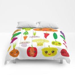 Kawaii vegetables peppers, pumpkin beets carrots, eggplant, red hot peppers, cauliflower, broccoli Comforters