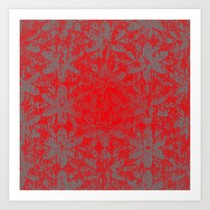 Snowy Red Halftone Flowers Art Print
