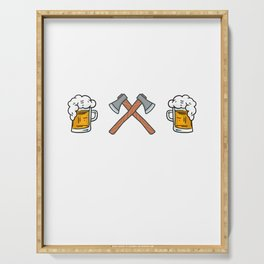 Hatchetman Axe Thrower Throwing And Beer Serving Tray