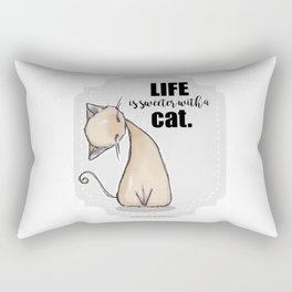 Life is Sweeter with a Cat Rectangular Pillow