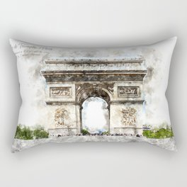 Arc de Triomphe, Aquarell Rectangular Pillow