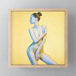 Nude Woman Before Yellow Background Framed Mini Art Print