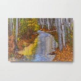Autumn Stream - Watercolor Metal Print