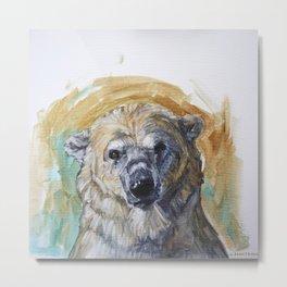 Polar Bear Portrait - Wistful Bear Metal Print